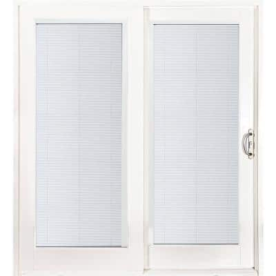 72 in. x 80 in. Smooth White Right-Hand Composite Sliding Patio Door with Built in Blinds