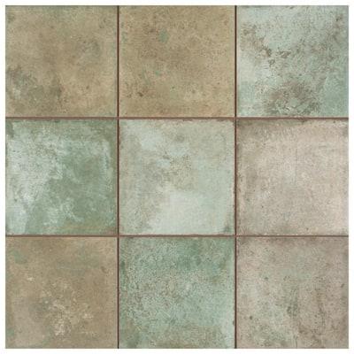 Kings Etna Encaustic 13-1/8 in. x 13-1/8 in. Sage Ceramic Floor and Wall Tile (12.29 sq. ft./Case)