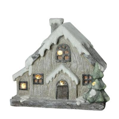 12 in. LED Lighted Battery Operated Rustic Glittered House Christmas Decoration
