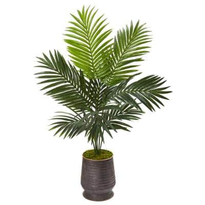 46 in. Kentia Artificial Palm Tree in Ribbed Metal Planter