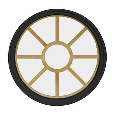 30 in. x 30 in. Round Bronze 4-9/16 in. Jamb 9-Lite Grille Geometric Aluminum Clad Wood Window