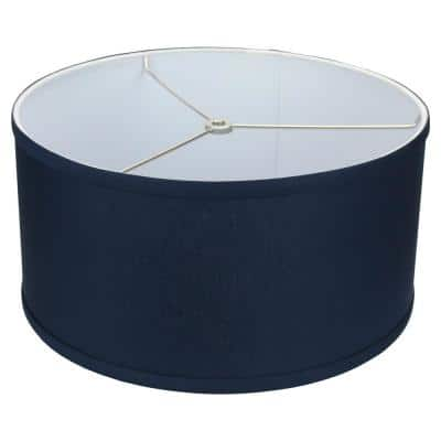 Fenchel Shades 14 in. Top Diameter x 14 in. Bottom Diameter x 7 in. Height, Drum Lamp Shade - Linen Navy Blue