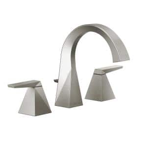 Trillian 8 in. Widespread 2-Handle Curved Bathroom Faucet with Metal Drain Assembly in Stainless