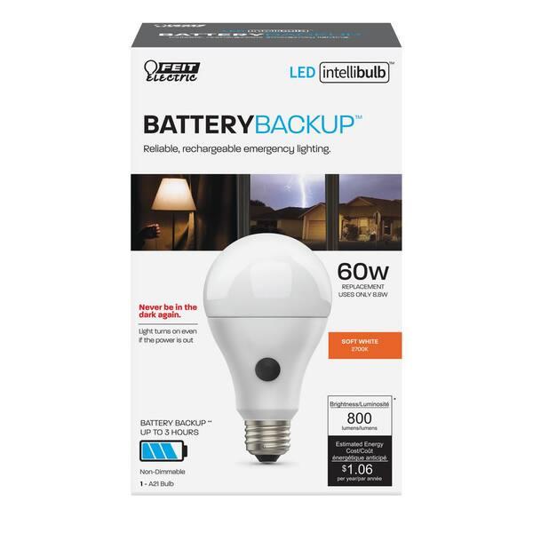 Feit Electric 60 Watt Equivalent Soft White 2700k A21 Intellibulb Emergency Battery Backup 90 Cri Led Light Bulb Om60 927ca Batg2ledi The Home Depot