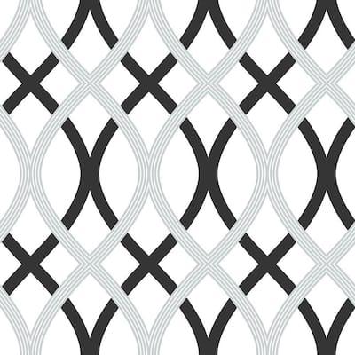 Black And Silver Lattice Vinyl Peel & Stick Wallpaper Roll (Covers 30.75 Sq. Ft.)