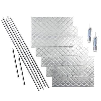 Quilted 18 in. x 24 in. Brushed Aluminum Vinyl Decorative Wall Tile Backsplash 15 sq. ft. Kit