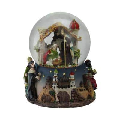 5 in. Christmas Nativity Scene Religious Musical Snow Globe Glitterdome