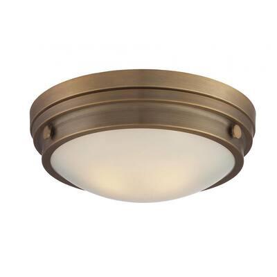 Skye 2-Light Warm Brass Flush Mount