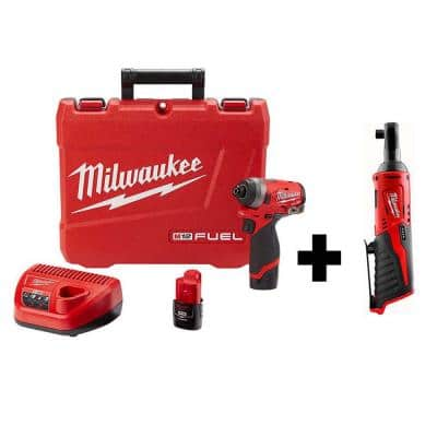 M12 FUEL 12-Volt Lithium-Ion Brushless Cordless 1/4 in. Hex Impact Driver Kit W/ M12 3/8 in. Ratchet