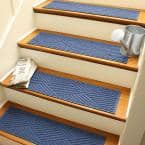 Aqua Shield Diamonds 8.5 in. x 30 in. Stair Treads (Set of 4) Navy