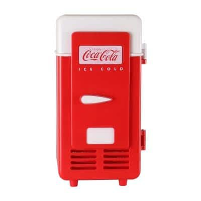 0.02 cu. ft. USB-Powered 1 Can Retro Mini Cooler/Mini Fridge in Red without Freezer