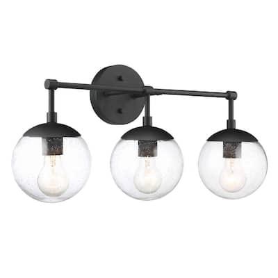 24.03 in. Gracelyn 3-Light Matte Black Vanity Light