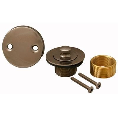 Lift and Turn Bath Tub Drain Conversion Kit with 2-Hole Overflow Plate, Antique Nickel