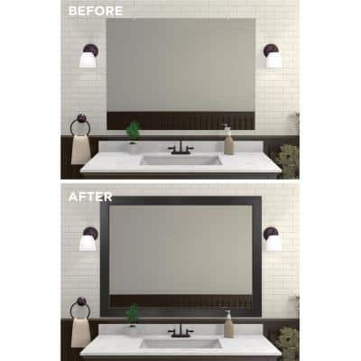 Decorative 48 in. x 36 in. Single Mirror Framing Kit for Bathrooms in Espresso with Flat Frame