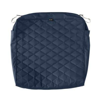 Montlake FadeSafe 25 in. W x 25 in. D x 5 in. T Navy Quilted Lounge Cushion Slipcover
