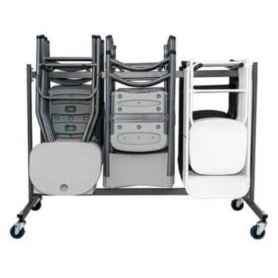 Commercial Heavy Duty 4-Wheeled Powder Coated Steel Folding Chair Trolley with Locking Wheels in Gray