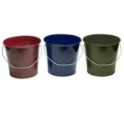 17 oz. Wax Bucket Candle Lavish Woodland Navy Blue, Army Green and Burgundy (3-Pack)