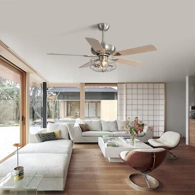 52 in. Indoor Wooden Sand Nickel Ceiling Fan with Soil Round Remote Control