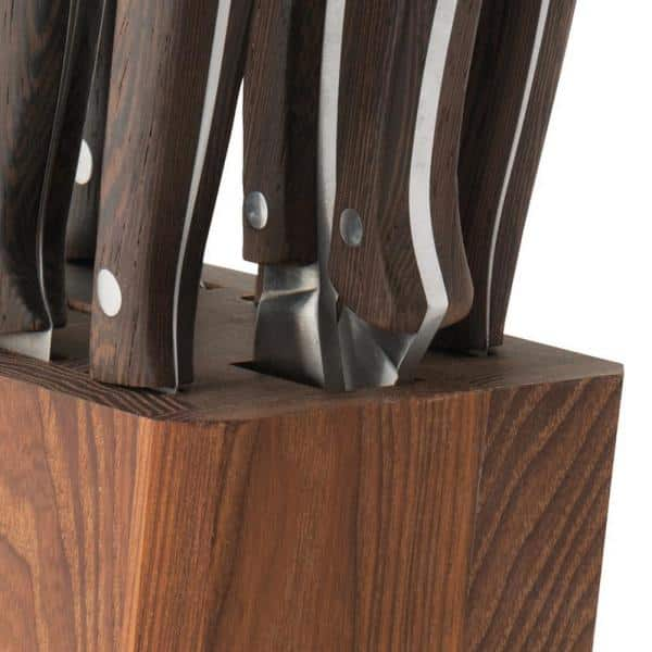 Berghoff Essentials 9 Piece Stainless Steel Knife Set With Rosewood Block 1309010 The Home Depot