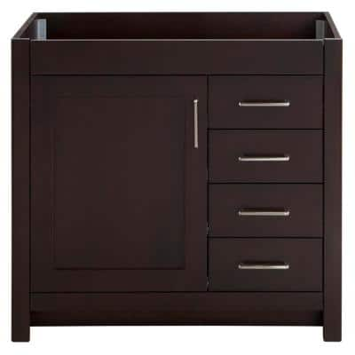 Westcourt 36 in. W x 21 in. D x 34 in. H Bath Vanity Cabinet Only in Chocolate