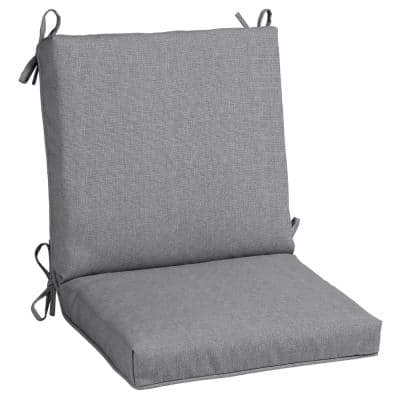 20 in. x 19 in. Stone Gray Outdoor Mid Back Dining Chair Cushion (2-Pack)
