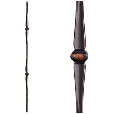Gothic Hammered 44 in. x 0.5625 in. Oil Rubbed Copper Double Knuckle Square Face Hammered Solid Wrought Iron Baluster