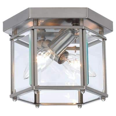 Bretton 8 in. W 2-Light Brushed Nickel Flush Mount with Clear Beveled Glass Panels