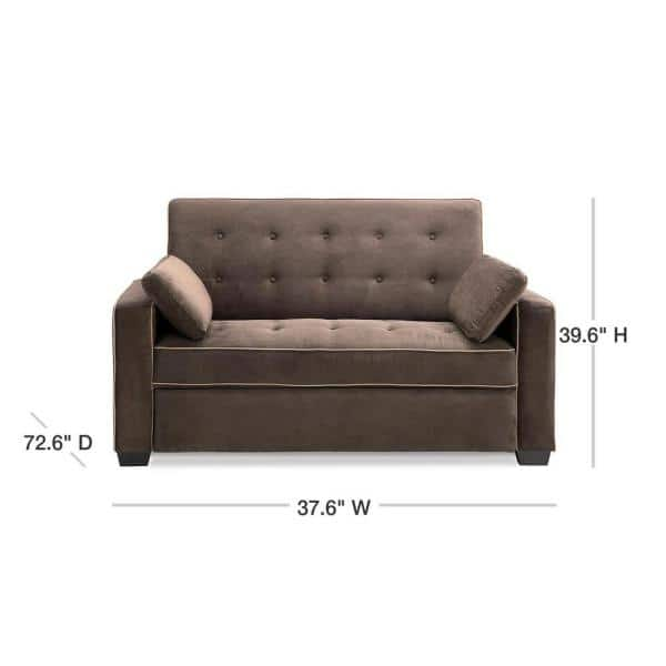 Serta Augustus 37 6 In Java Polyester, Couch With Pull Out Queen Bed