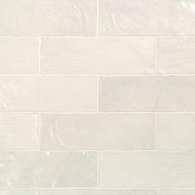 Amagansett White 2 in. x 8 in. 9 mm Satin Ceramic Wall Tile (5.38 sq. ft. / box)