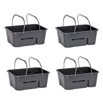 Gray 4-Compartment Durable Plastic Organizer Cleaning Carry Caddy (4-Pack)