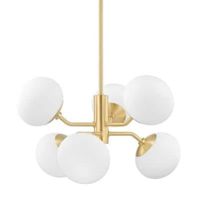 Estee 6-Light Aged Brass Chandelier with Opal Etched Glass