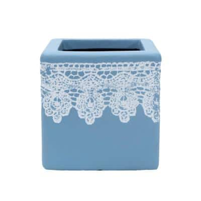 7.5 in. Square Composite Crochet Cube Planter in Light Blue