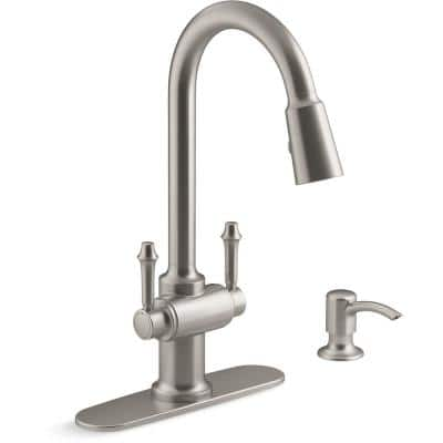 Thierry Two Handle Pull-Down Sprayer Kitchen Faucet with Soap Dispenser in Vibrant Stainless