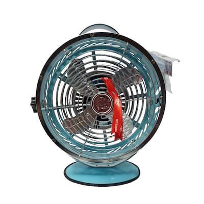 Light Blue 10.9 in. Portable Table Fan