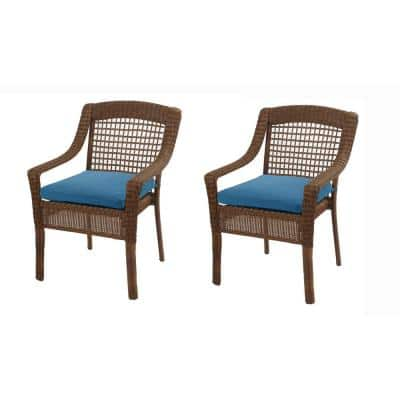 Charlottetown 18 x 18 Washed Blue Outdoor Dining Chair Replacement Cushion (2-Pack)