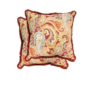 18 in. Pashmina Cardinal Square Outdoor Throw Pillow (2-Pack)