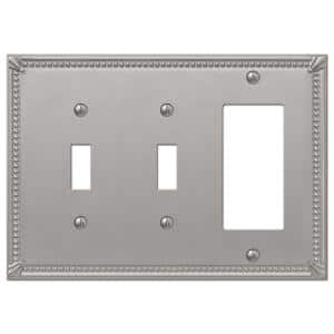 Imperial Bead 3 Gang 2-Toggle and 1-Rocker Metal Wall Plate - Brushed Nickel