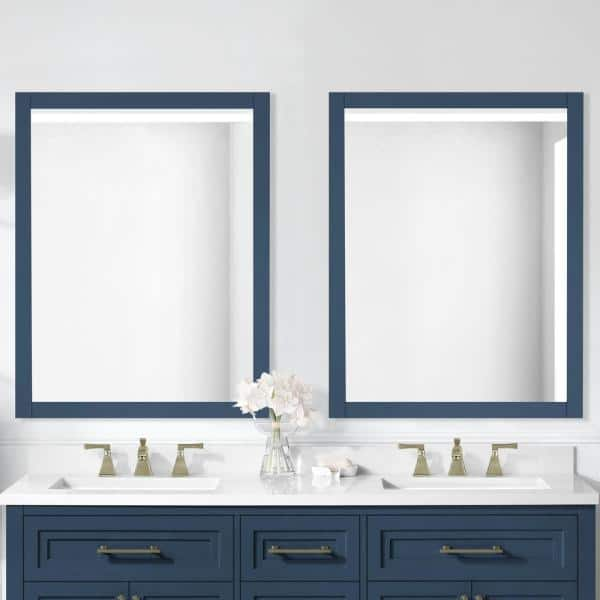 Home Decorators Collection 28 00 In W X 36 00 In H Framed Rectangular Bathroom Vanity Mirror In Grayish Blue Mayfield Mr Gb The Home Depot