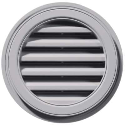 18 in. x 18 in. Round Gray Plastic Weather Resistant Gable Louver Vent