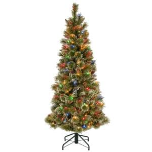 5 ft. Glistening Pine Pencil Slim Hinged Tree with Silver Glittered Cones and 150 Multi-Lights Plus PowerConnect
