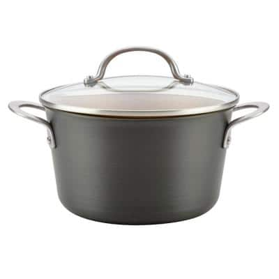 Home Collection 4.5 Qt. Hard Anodized Aluminum Covered Saucepot