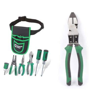 7-Piece Electrician's Tool Set with Pouch and 9 in. High-Leverage Multi-Purpose Linesman Pliers