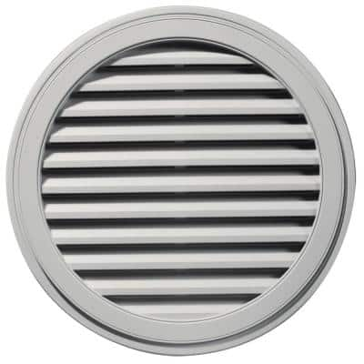 36 in. x 36 in. Round Gray Plastic Built-in Screen Gable Louver Vent