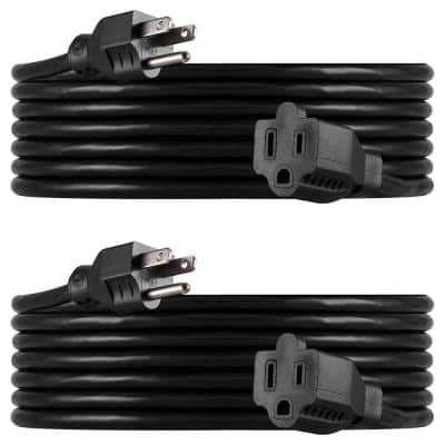 15 ft. Heavy-Duty Extension Cord, Black (2-Pack)