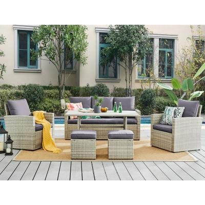 6-Piece Wicker Rattan Outdoor Patio Conversation Furniture Set with Coffee Table and Solid Cushion Chairs
