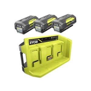 40V Lithium-Ion 3-Port Charger with (3) 4.0 Ah Batteries