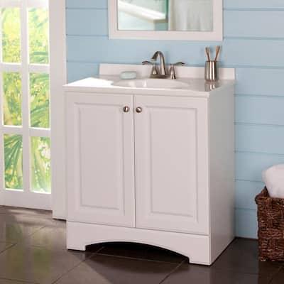 31 in. W x 33 in. H x 19 in. D Bath Vanity in White with Vanity Top in White with White Basin