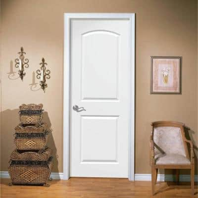 24 in. x 80 in. Roman Primed Smooth 2 Panel Round Top Hollow Core Composite Interior Door Slab with Bore