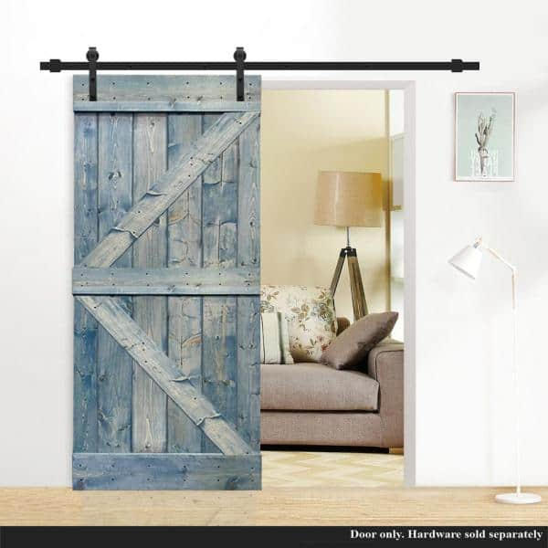 Calhome K Series 38 In X 84 In Solid Denim Blue Stained Pine Wood Interior Sliding Barn Door Slab Door Diy K38l The Home Depot