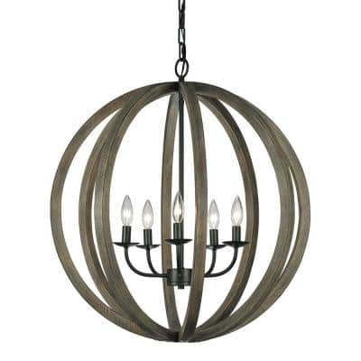 Allier 26 in. W 5-Light Weathered Oak Wood/Antique Forged Iron Orb Chandelier